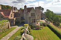 BNPS.co.uk (01202 558833)<br /> Pic: Savills/BNPS<br /> <br /> Pictured: An aerial view of Lympne Castle.<br /> <br /> A stunning historic castle with views across the Channel to France is on the market for £11m.<br /> <br /> Grade I Listed Lympne Castle dates back to the 13th century and hosted everyone from archbishops and prime ministers to celebrities including Mick Jagger and Sir Paul McCartney.<br /> <br /> The striking property in Hythe, Kent, has such incredible views it was used during the Second World War to spot V1 rockets in Calais on a clear day, allowing coastline guns to be ready to shoot down the rockets over Hythe Bay.<br /> <br /> The grand home, which has been run as a wedding and events venue for the past 20 years, is on the market with Savills.