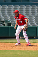 Third baseman Wes Kath (10) during the Baseball Factory All-Star Classic at Dr. Pepper Ballpark on October 4, 2020 in Frisco, Texas.  Wes Kath (10), a resident of Scottsdale, Arizona, attends Desert Mountain High School.  (Ken Murphy/Four Seam Images)