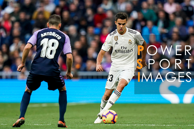 Sergio Reguilon Rodriguez of Real Madrid (R) is tackled by Antonio Jesus Regal Anguilo of Real Valladolid during the La Liga 2018-19 match between Real Madrid and Real Valladolid at Estadio Santiago Bernabeu on November 03 2018 in Madrid, Spain. Photo by Diego Souto / Power Sport Images