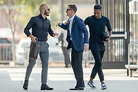 San Jose, CA - Sunday October 21, 2018: Magnus Eriksson,  Chris Leitch, Danny Hoesen prior to a Major League Soccer (MLS) match between the San Jose Earthquakes and the Colorado Rapids at Avaya Stadium.
