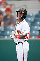 Florida Fire Frogs Cristian Pache (25) on deck during a game against the Palm Beach Cardinals on May 1, 2018 at Osceola County Stadium in Kissimmee, Florida.  Florida defeated Palm Beach 3-2.  (Mike Janes/Four Seam Images)