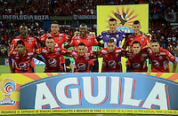 MEDELLIN - COLOMBIA - 21 - 01 -2017: Los jugadores de Deportivo Independiente Medellin, posan para una foto durante partido de ida entre Deportivo Independiente Medellin y el Independiente Santa Fe, por la SuperLiga Aguila 2017 en el estadio Atanasio Girardot de la ciudad de Medellin. / The players of Deportivo Independiente Medellin, pose for a photo during a match for the first round between Deportivo Independiente Medellin and Independiente Santa Fe, for the SuperLiga Aguila 2017 at the Atanasio Girardot stadium in Medellin city. Photo: VizzorImage /  Leon Monsalve / Cont.