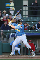 Myrtle Beach Pelicans outfielder Royce Bolinger #7 at bat during a game against the Potomac Nationals at Ticketreturn.com Field at Pelicans Ballpark on April 16, 2014 in Myrtle Beach, South Carolina. Potomac defeated Myrtle Beach 7-3. (Robert Gurganus/Four Seam Images)