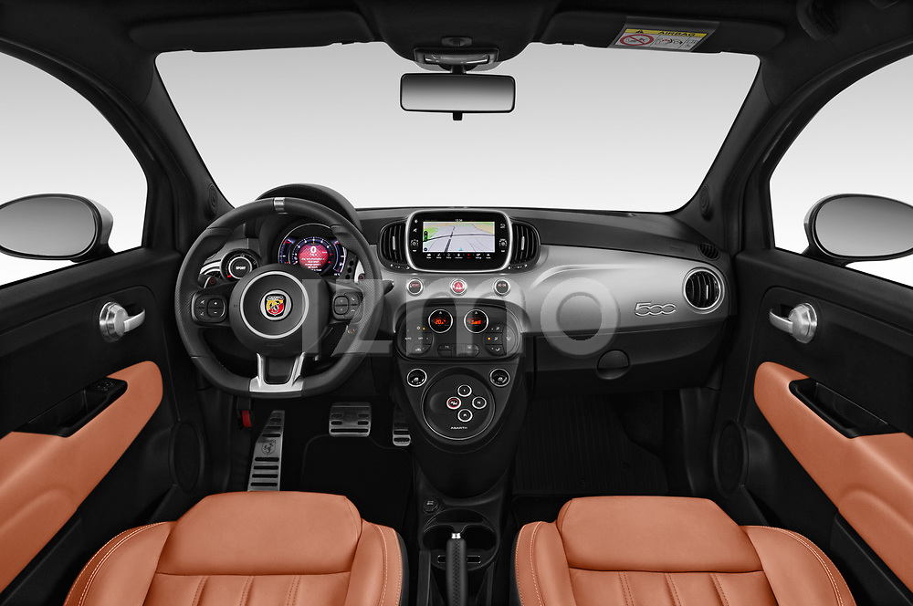Stock photo of straight dashboard view of a 2018 Abarth 595 Turismo 3 Door Hatchback