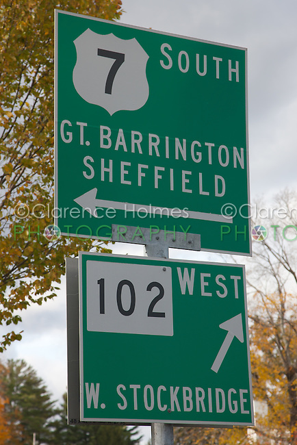Road signs at intersection of US Route 7 and Massachusetts Route 102 in Stockbridge Mass