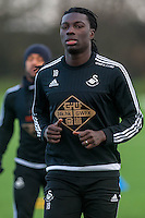Wednesday  06 January 2016<br /> Pictured: Bafetimbi Gomis of Swansea in action during training<br /> Re: Swansea City Training session at the Fairwood training ground, Swansea, Wales, UK