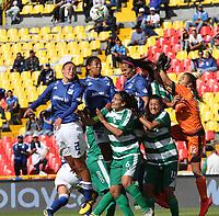 BOGOTÁ- COLOMBIA,14-07-2019:Acción de juego entre los equipos  Millonarios femenino  y La Equidad femenino  durante el primer partido de la Liga Águila Femenina 2019 jugado en el estadio Nemesio Camacho El Campín de la ciudad de Bogotá. /Action game between teams Millonarios and  Equidad womnes during the firts match for the Liga Aguila women  2019 played at the Nemesio Camacho El Campin stadium in Bogota city. Photo: VizzorImage / Felipe Caicedo / Staff