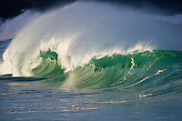 Beautiful empty wave at the Waimea Bay shore break on the North Shore of Oahu, Hawaii