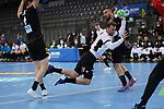 Martin Johannson (EST) beim Wurf - rechts Jannik Kohlbacher (GER) bei der Euro-Qualifikation im Handball, Deutschland - Estland.<br /> <br /> Foto © PIX-Sportfotos *** Foto ist honorarpflichtig! *** Auf Anfrage in hoeherer Qualitaet/Aufloesung. Belegexemplar erbeten. Veroeffentlichung ausschliesslich fuer journalistisch-publizistische Zwecke. For editorial use only.