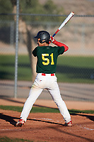 Kye Yu (51), from Bellaire, Texas, while playing for the Athletics during the Under Armour Baseball Factory Recruiting Classic at Red Mountain Baseball Complex on December 29, 2017 in Mesa, Arizona. (Zachary Lucy/Four Seam Images)