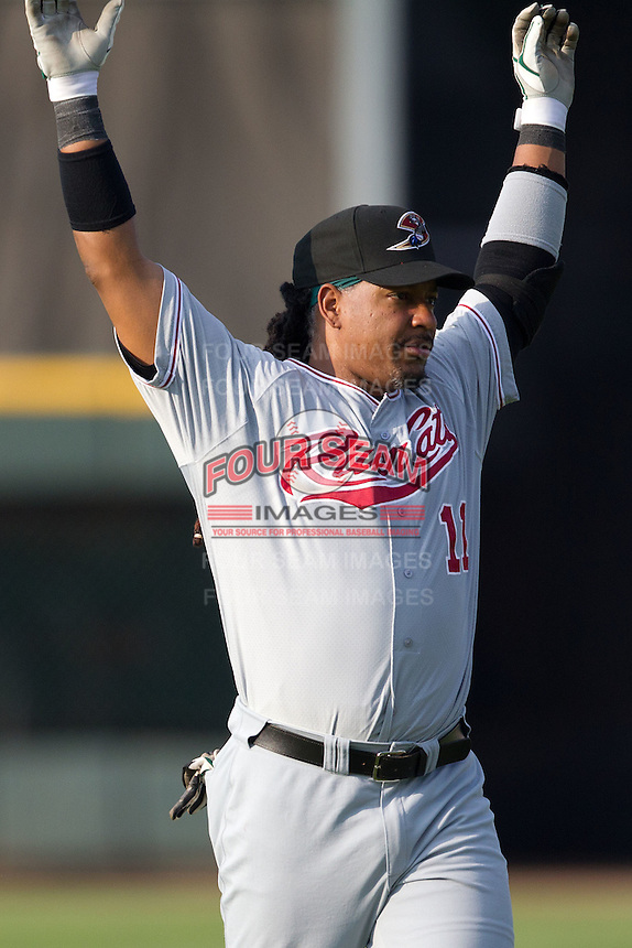 Sacramento River Cats designated hitter Manny Ramirez #11 warms up before the Pacific Coast League baseball game against the Round Rock Express on May 22, 2012 at The Dell Diamond in Round Rock, Texas. The Express defeated the River Cats 11-5. (Andrew Woolley/Four Seam Images)