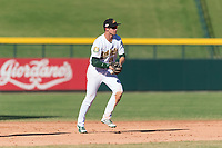 Mesa Solar Sox shortstop Eli White (21), of the Oakland Athletics organization, prepares to make a throw to first base during an Arizona Fall League game against the Salt River Rafters at Sloan Park on October 30, 2018 in Mesa, Arizona. Salt River defeated Mesa 14-4 . (Zachary Lucy/Four Seam Images)