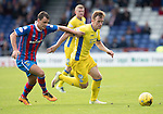 Inverness Caley Thistle v St Johnstone…27.08.16..  Tulloch Stadium  SPFL<br />Liam Craig holds off Lewis Horner<br />Picture by Graeme Hart.<br />Copyright Perthshire Picture Agency<br />Tel: 01738 623350  Mobile: 07990 594431
