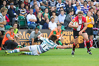 20120803 Copyright onEdition 2012©.Free for editorial use image, please credit: onEdition..Steve Hamilton of London Welsh accelerates past Alex Gray of London Irish at The Recreation Ground, Bath in the Final round of The J.P. Morgan Asset Management Premiership Rugby 7s Series...The J.P. Morgan Asset Management Premiership Rugby 7s Series kicked off again for the third season on Friday 13th July at The Stoop, Twickenham with Pool B being played at Edgeley Park, Stockport on Friday, 20th July, Pool C at Kingsholm Gloucester on Thursday, 26th July and the Final being played at The Recreation Ground, Bath on Friday 3rd August. The innovative tournament, which involves all 12 Premiership Rugby clubs, offers a fantastic platform for some of the country's finest young athletes to be exposed to the excitement, pressures and skills required to compete at an elite level...The 12 Premiership Rugby clubs are divided into three groups for the tournament, with the winner and runner up of each regional event going through to the Final. There are six games each evening, with each match consisting of two 7 minute halves with a 2 minute break at half time...For additional images please go to: http://www.w-w-i.com/jp_morgan_premiership_sevens/..For press contacts contact: Beth Begg at brandRapport on D: +44 (0)20 7932 5813 M: +44 (0)7900 88231 E: BBegg@brand-rapport.com..If you require a higher resolution image or you have any other onEdition photographic enquiries, please contact onEdition on 0845 900 2 900 or email info@onEdition.com.This image is copyright the onEdition 2012©..This image has been supplied by onEdition and must be credited onEdition. The author is asserting his full Moral rights in relation to the publication of this image. Rights for onward transmission of any image or file is not granted or implied. Changing or deleting Copyright information is illegal as specified in the Copyright, Design and Patents Act 1988. If you are in any way unsure of your right to publi