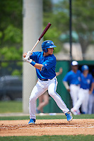 Dunedin Blue Jays Logan Warmoth (7) during a Florida State League game against the Clearwater Threshers on April 7, 2019 at Jack Russell Memorial Stadium in Clearwater, Florida.  Dunedin defeated Clearwater 2-1.  (Mike Janes/Four Seam Images)