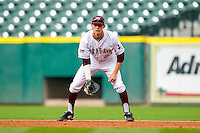 First baseman Jacob House #27 of the Texas A&M Aggies on defense against the Utah Utes at Minute Maid Park on March 4, 2011 in Houston, Texas.  Photo by Brian Westerholt / Four Seam Images