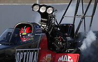 Feb. 15, 2013; Pomona, CA, USA; NHRA top fuel dragster driver David Grubnic during qualifying for the Winternationals at Auto Club Raceway at Pomona. Mandatory Credit: Mark J. Rebilas-