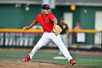 Johnson City Cardinals starting pitcher Jose Moreno (3) delivers a pitch during game three of the Appalachian League, West Division Playoffs against the Bristol Pirates at TVA Credit Union Ballpark on September 1, 2019 in Johnson City, Tennessee. The Cardinals defeated the Pirates 7-5 to win the series 2-1. (Tony Farlow/Four Seam Images)
