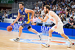 Real Madrid's Sergio Rodriguez and UCAM Murcia's Benite during the first match of the playoff at Barclaycard Center in Madrid. May 27, 2016. (ALTERPHOTOS/BorjaB.Hojas)