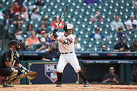 Chase Cryer (15) of the Sam Houston State Bearkats at bat against the Vanderbilt Commodores in game one of the 2018 Shriners Hospitals for Children College Classic at Minute Maid Park on March 2, 2018 in Houston, Texas. The Bearkats walked-off the Commodores 7-6 in 10 innings.   (Brian Westerholt/Four Seam Images)