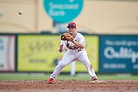 Palm Beach Cardinals second baseman Nick Dunn (12) waits for a throw during a Florida State League game against the Clearwater Threshers on August 11, 2019 at Roger Dean Chevrolet Stadium in Jupiter, Florida.  Palm Beach defeated Clearwater 4-1.  (Mike Janes/Four Seam Images)