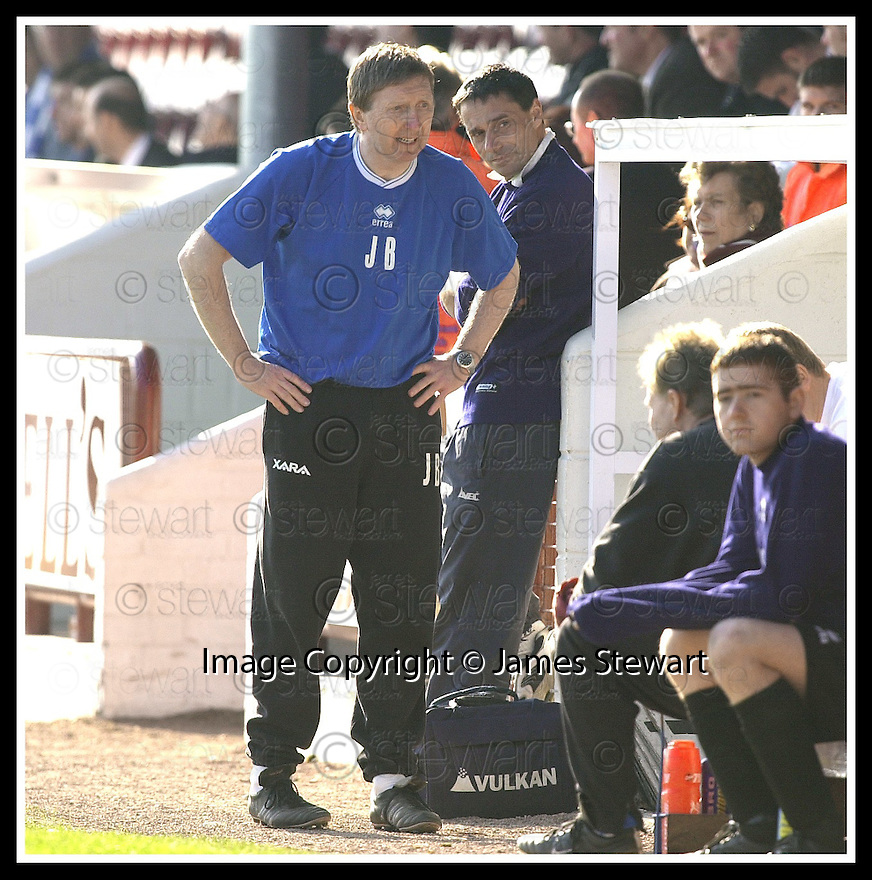 12/04/2003                   Copright Pic : James Stewart.File Name : stewart-arbroath v qots 12.ARBROATH'S MANAGER JOHN BROWNLIE SEES HIS TEAM'S 1ST DIVISION STATUS SLIPPING AWAY....James Stewart Photo Agency, 19 Carronlea Drive, Falkirk. FK2 8DN      Vat Reg No. 607 6932 25.Office     : +44 (0)1324 570906     .Mobile  : +44 (0)7721 416997.Fax         :  +44 (0)1324 570906.E-mail  :  jim@jspa.co.uk.If you require further information then contact Jim Stewart on any of the numbers above.........