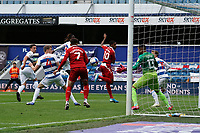 Middlesbrough's Chuba Akpom scores his side's first goal  <br /> <br /> Photographer Stephanie Meek/CameraSport<br /> <br /> The EFL Sky Bet Championship - Queens Park Rangers v Middlesbrough - Saturday 26th September 2020 - Loftus Road - London <br /> <br /> World Copyright © 2020 CameraSport. All rights reserved. 43 Linden Ave. Countesthorpe. Leicester. England. LE8 5PG - Tel: +44 (0) 116 277 4147 - admin@camerasport.com - www.camerasport.com