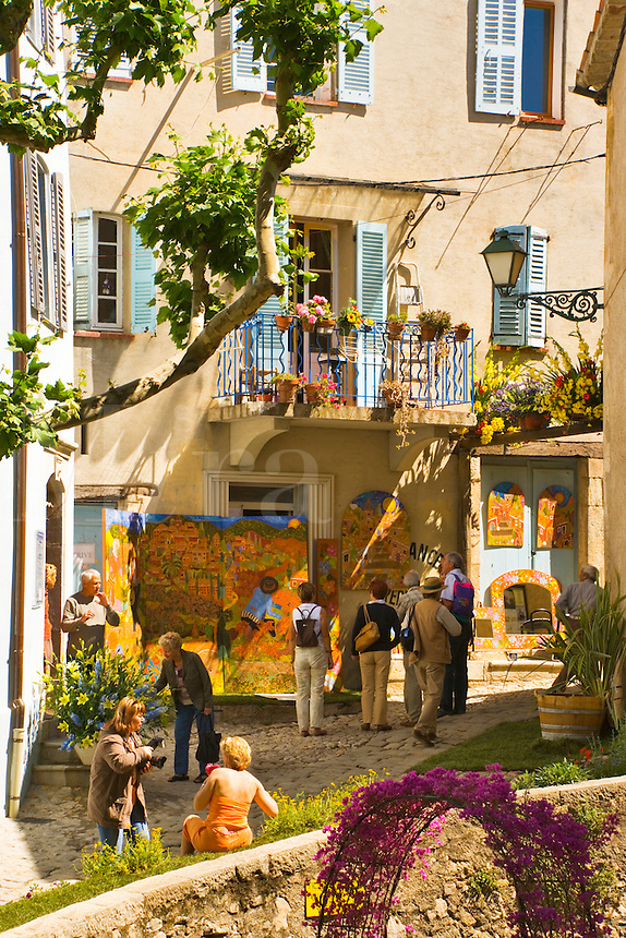 Corner of the village of Seillans during the Flower Festival, Var, Provence, France.