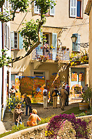 Corner of the village of Seillans during the Flower Festival, Var, Provence, France.