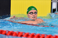 Cameron van der Burgh of RSA looks at the clock after competeing in 50 meter breaststroke final during Commonwealth Games Swimming, Monday, July 28, 2014 in Glasgow, United Kingdom. (Mo Khursheed/TFV Media via AP Images)