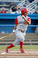 Williamsport Crosscutters outfielder Peter Lavin #43 during the second game of a doubleheader against the Batavia Muckdogs at Dwyer Stadium on August 23, 2011 in Batavia, New York.  Batavia defeated Williamsport 2-1.  (Mike Janes/Four Seam Images)