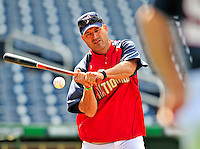 6 June 2009: Washington Nationals' Manager Manny Acta taps out infield grounders prior to a game against the New York Mets at Nationals Park in Washington, DC. The Nationals defeated the Mets 7-1, marking pitcher John Lannan's first complete game of his career. Mandatory Credit: Ed Wolfstein Photo