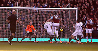 Pictured:  Kevin Nolan of West Ham (C) scoring his opening goal. 01 February 2014<br />