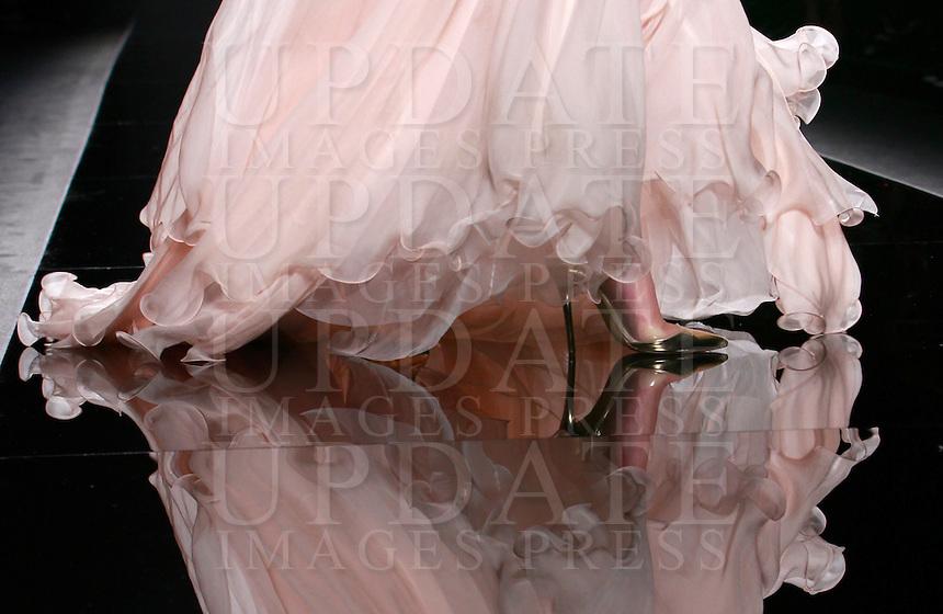 Una modella veste una creazione della collezione Autunno Inverno 2014/2015 di Rani Zakhem durante la rassegna Altaroma, a Roma, 13 luglio 2014.<br /> A model wears a creation by Rani Zakhem's Fall Winter 2014/2015 collection at the Altaroma fashion week in Rome, 13 July 2014.<br /> UPDATE IMAGES PRESS/Isabella Bonotto