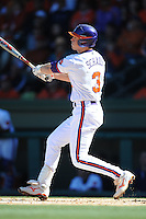 Jeff Schaus (Left Fielder) Clemson Tigers player has Rally Stack on head (Photo by Tony Farlow/Four Seam Images)