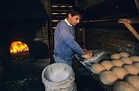 Europe/France/Aquitaine/40/Landes/Parc Naturel Régional des Landes de Gascogne/Sabres: Christophe (boulanger) prépare le pain (AUTO N°12) à l'écomusée de Marquèze