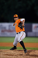 Pitcher DJ Roberts (12) of Atlantic Coast High School in Jacksonville, Florida playing for the Baltimore Orioles scout team during the East Coast Pro Showcase on July 29, 2015 at George M. Steinbrenner Field in Tampa, Florida.  (Mike Janes/Four Seam Images)