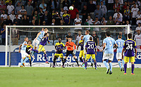 Thursday 08 August 2013<br /> Pictured: Filip Helander of Malmo (3rd L) challenging mid-air Chico Flores of Swansea<br /> Re: Malmo FF v Swansea City FC, UEFA Europa League 3rd Qualifying Round, Second Leg, at the Swedbank Stadium, Malmo, Sweden.