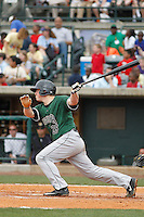 Augusta GreenJackets infielder Skyler Ewing (25) at the plate during a game against the Charleston Riverdogs at Joseph P.Riley Jr. Ballpark on April 15, 2015 in Charleston, South Carolina. Charleston defeated Augusta 8-0. (Robert Gurganus/Four Seam Images)