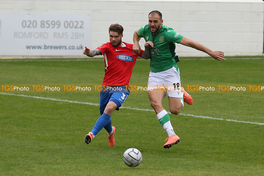 Elliot Johnson of Dagenham and Redbridge and Albi Skendi of Yeovil Town during Dagenham & Redbridge vs Yeovil Town, Vanarama National League Football at the Chigwell Construction Stadium on 17th October 2020