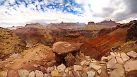 The South Kaibab Trail takes twists and turns on its way to the canyon floor at Grand Canyon National Park in Arizona.