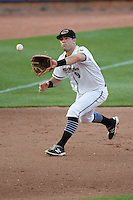 Akron RubberDucks third baseman Joe Sever (9) fields a ground ball during a game against the Richmond Flying Squirrels on July 26, 2016 at Canal Park in Akron, Ohio .  Richmond defeated Akron 10-4.  (Mike Janes/Four Seam Images)