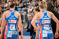 6th June 2021; Ken Rosewall Arena, Sydney, New South Wales, Australia; Australian Suncorp Super Netball, New South Wales, NSW Swifts versus Giants Netball; Briony Akle of NSW Swifts during a team talk