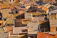 Gruissan village. La Clape. Languedoc. Village roof tops with tiles.. France. Europe.