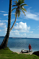 Traditional Canoe, man, Culture, Beach, Palm trees, Ocean, Chuuk, Micronesia