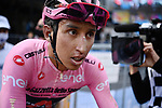 Maglia Rosa Egan Bernal (COL) Ineos Grenadiers caked in dust at the finish of Stage 11 of the 2021 Giro d'Italia, running 162km from Perugia to Montalcino, (Brunello di Montalcino Wine Stage), Italy. 19th May 2021.  <br /> Picture: LaPresse/Marco Alpozzi | Cyclefile<br /> <br /> All photos usage must carry mandatory copyright credit (© Cyclefile | LaPresse/Marco Alpozzi)