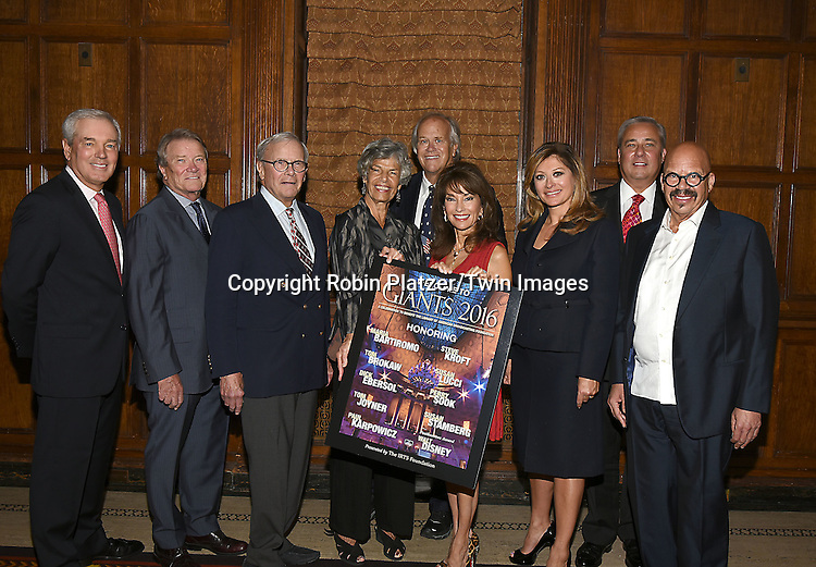 The Honorees, Paul Karpowicz, Steve Kroft, Tom Brokaw, Susan Stamberg, Dick Ebersol, Susan Lucci, Maria Bartiromo,Perry Sook and Tom Joyner attend the Library of American Broadcasting  Annual Giants of Broadcasting Luncheon on October 6, 2016 at Gotham Hall in New York City. <br /> <br /> photo by Robin Platzer/Twin Images<br />  <br /> phone number 212-935-0770