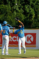 Myrtle Beach Pelicans outfielder Luis Ayala (52) making a catch during a game against the Potomac Nationals at Ticketreturn.com Field at Pelicans Ballpark on July 1, 2018 in Myrtle Beach, South Carolina. Myrtle Beach defeated Potomac 6-1. (Robert Gurganus/Four Seam Images)