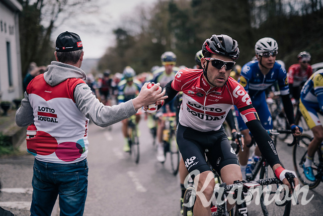 bidon for Maxime Monfort (BEL/Lotto-Soudal)<br /> <br /> 58th De Brabantse Pijl 2018 (1.HC)<br /> 1 Day Race: Leuven - Overijse (BEL/202km)