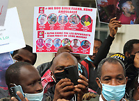 Guineans in UK protest outside Downing Street after Guinea President Alpha Conde was re-elected with opposition claims that the  election was rigged. Whitehall, London on Saturday October 24th 2020<br /> <br /> Photo by Keith Mayhew